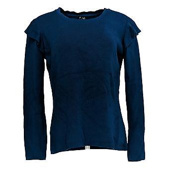 Du Jour mujeres's suéter rib knit suéter W/ Ruffle hombro azul A303265