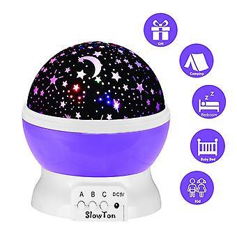 stjerner projektor lampe - lys projektor natt projeksjon romantisk for barn barn soverom gaver med 3 moduser 4 ledet 360 graders rotasjon - blå