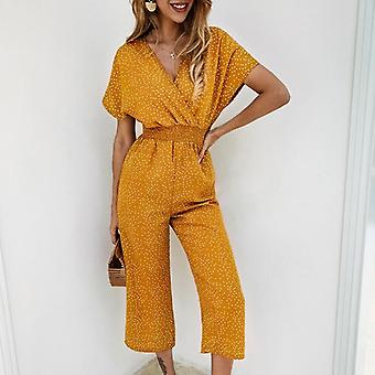 Women Jumpsuits Rompers Summer Casual Print V-neck Pocket Overalls