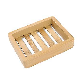 Houten natuurlijke bamboe zeepschalen tray houder, opslag zeep rek, plaat doos,