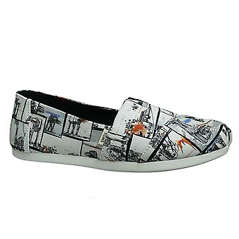 Toms x Star Wars White At-At Canvas Print Slip Op Womens Espadrille 10014383