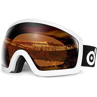 Odoland OTG Ski Goggles - Anti-fog, Anti-glare Lens with UV400 Protection Adult Goggles