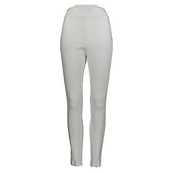 H de Halston Women's Pantalones de punto denim tobillo w / Zipper Detalle blanco A351208
