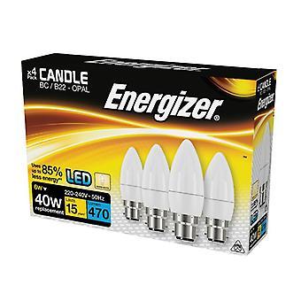 Energizer LED BC (B22) Vela de ópalo bombilla no regulable blanco cálido 470 lm 5.9W (x4)