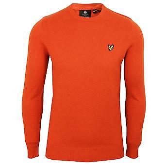 Lyle & scott men's burnt orange marl merino jumper
