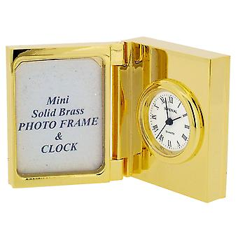 GTP Miniature Unisex Mini Photo Frame Goldplated On Solid Brass Novelty Collectors Mantle Piece Shelf Clock IMP18