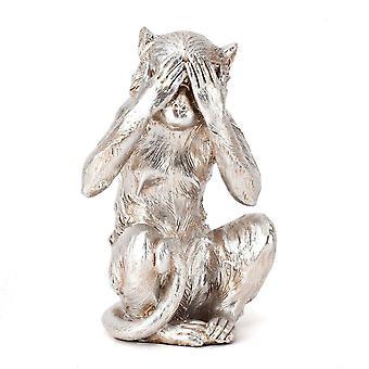 Hestia Silver Resin Monkey - See No Evil