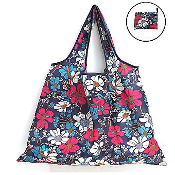 Large Flower Cloth Square Bag Portable Large Capacity Shopping Bag Foldable Printing Grocery Bag