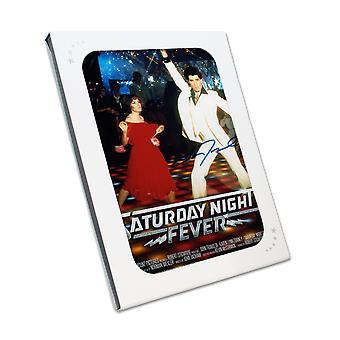 John Travolta signerad Saturday Night Fever Film Poster. I presentask