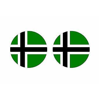 2x stick sticker round cocarde flag vinland viking raven odin