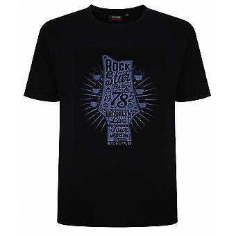 ESPIONAGE Espionage Mens Big Size Guitar Cotton Crew Neck T Shirt Black