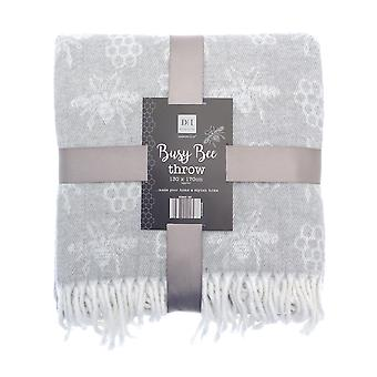 Country Club Busy Bee Acrylic Throw, Grey