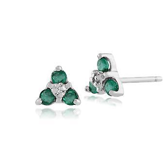 9ct Weißgold klassische Runde Smaragd & Diamant Cluster Ohrstecker 10282