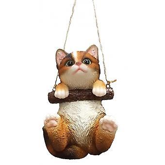 cat 15.1 x 10.6 cm polyresin dark brown