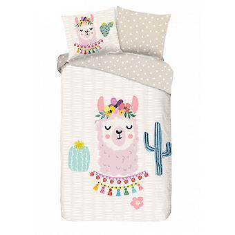 bed cover Llama 135 x 200 cm cotton white
