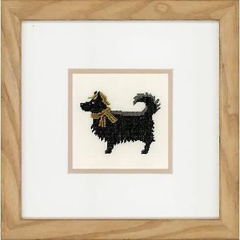 Kit de punto de cruz contada Lanarte: Perro en sombrero (lino)