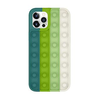 Lewinsky iPhone 12 Pop It Case - Silicone Bubble Toy Case Anti Stress Cover Green