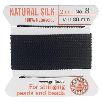 Griffin Cordon de perles de soie &aiguille, Taille 8 (0.8mm), 2 mètres, Noir