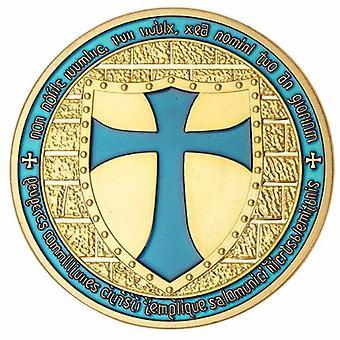 Ritter Templer - breite Kreuz Schild hellblaue Münze