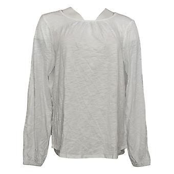 NYDJ top reg camiseta de manga dividida blanco A444489