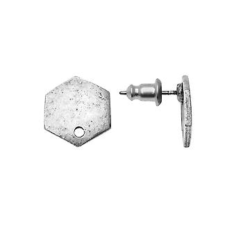 Earring Posts, Flat Tag Mini Hexagon 12mm, Antiqued Silver, 1 Paire, par Nunn Design