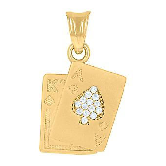 14k Yellow Gold Mens Cubic zirconia Playing Cards Gambling Fashion Charm Pendant Necklace Measures 22.1x12. Jewelry Gift