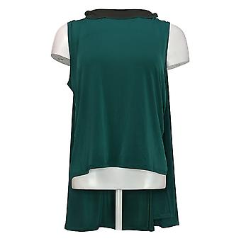 IMAN Global Chic Mujer Top Caped Shell Green 722613