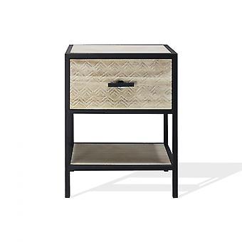 Rebecca Bedside Möbler med trä och metalllåda hylla för sovrum 47.5x35x25 Cm