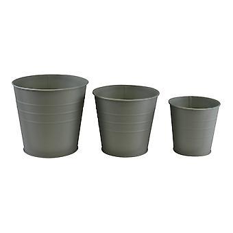 Uppsättning av 3 runda metallplanterare, grön