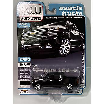 2019 Chevy Silerado High Country Black 1:64 Auto World AW64252B