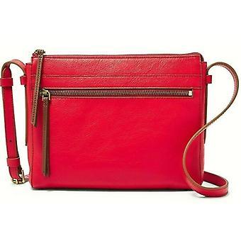 Fossil Felicity Crossbody Brick Red Leather Handbag Brass SHB2000646