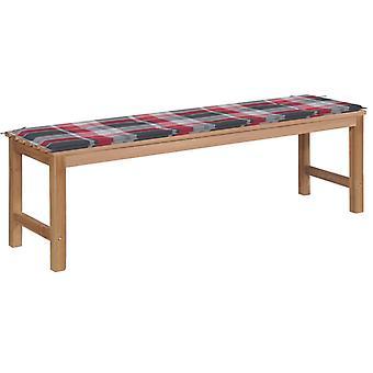 vidaxl hage benk rød sjekk mønster pad 150 cm massivt tre teak