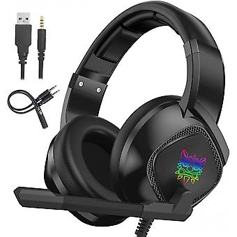 Gaming Headset With Mic And Rgb Breathing Led Light For Ps4 Xbox One Pc