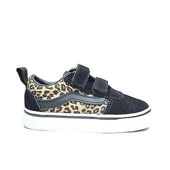 Vans Toddler Ward V Cheetah/Black Canvas Childrens Rip Tape Sneakers