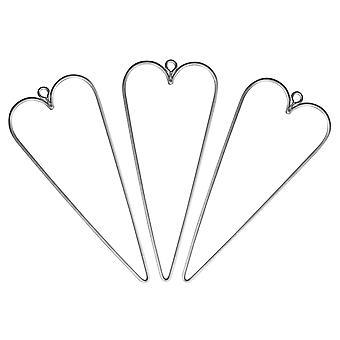 3 roikkuu metallilanka sydämet koristeluun - 12cm