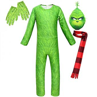 Kids Boy The Grinch Cosplay Costume Fancy Dress Christmas Party Jumpsuit