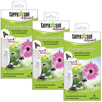 Sparset: 3 x TERRASAN HOME fly bait flower, 4 pieces