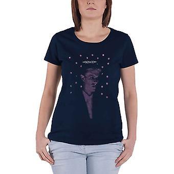 David Bowie T Shirt Dots Logo nouveau Officiel Femme Skinny Fit Bleu Marine