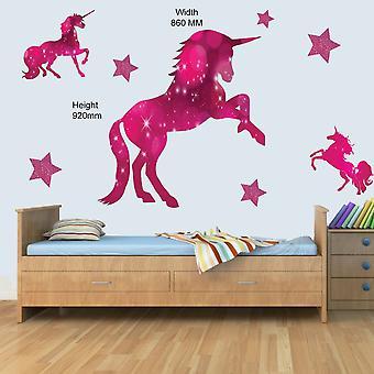 3 x rosa enhjørning og stjerner barn veggkunst dekal vinyl klistremerker jenter soverom N