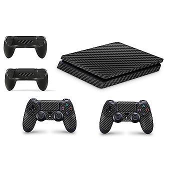 GNG PS4 SLIM Console Carbon Black Colour Skin Decal Vinal Sticker + 2 Controller Skins Set