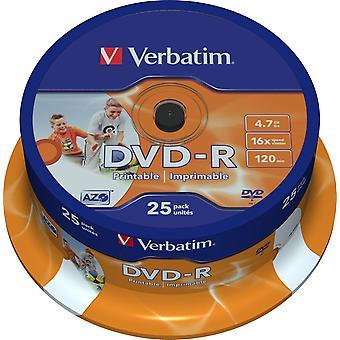 Verbatim DVD-R, 16 x, 4.7 GB/120 min, 25-pack spindle, AZO, printable