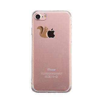 Squirrel Holding Apple Transparent Phone Case Cute Clear Phonecase