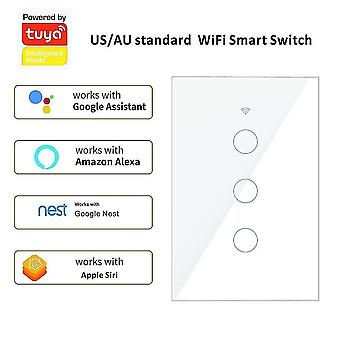 Power outlets sockets smart home wifi us/au 2-way control touch switch 1 2 3 gang automatical glass panel work with