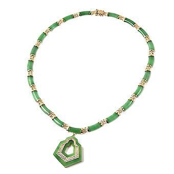 """Grüne Jade, natürliche Zirkon Halskette Größe 18"""" Gelbgold vergoldet Silber 104,59ct"""
