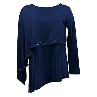 Antthony Women's Top Long Sleeve Double Layer Blue 716294