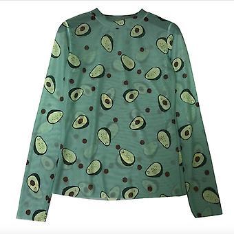 Sommer Neue Avocado Mesh T-Shirt Bluse Korean Girl Sunscreen Chic Loose Long Sleeve Thin Top