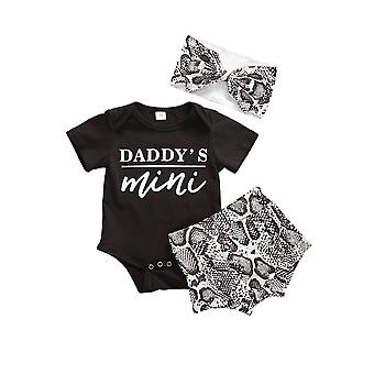 3pcs Baby Girls Rompers Jumpsuit Tops + Shorts + Hat Outfits Set