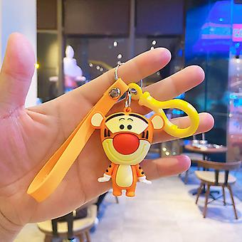 Stitch Schoolbag Doll Keychain Pooh Bear Creative Cartoon Key Pendant Cute Ornament Silicone Keychain