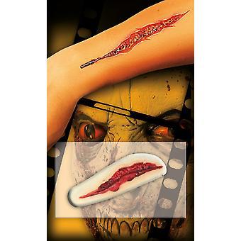 Cicatriz de ferida corte largo autoadesiva do silicone Halloween horror