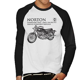 Haynes Owners Workshop Manual Norton Commando 745CC 828CC Men's Baseball Long Sleeved T-Shirt